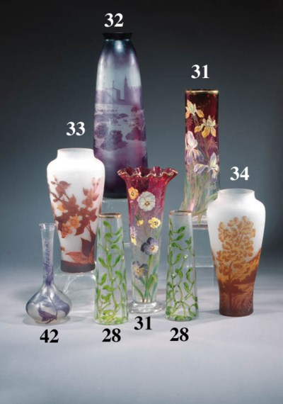 A pair of French glass vases