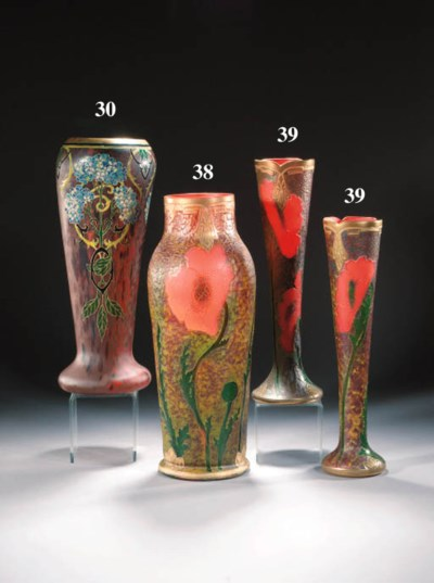 A pair of Legras glass vases