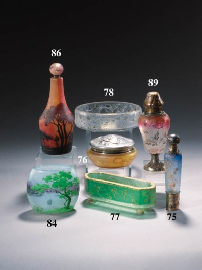 A Daum cameo glass bottle and