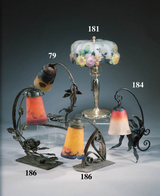 A French glass and wrought-iro