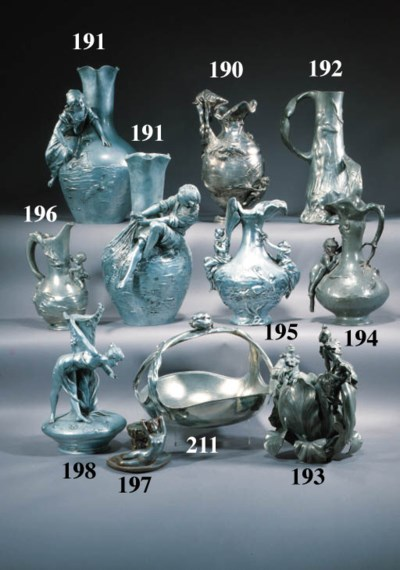 A French silvered metal vase