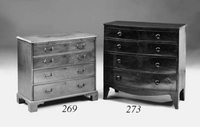 A mahogany bowfront chest, 19t