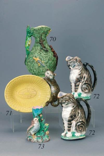 Two Gustavsberg majolica cat j