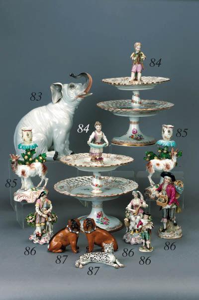 A pair of German porcelain mod
