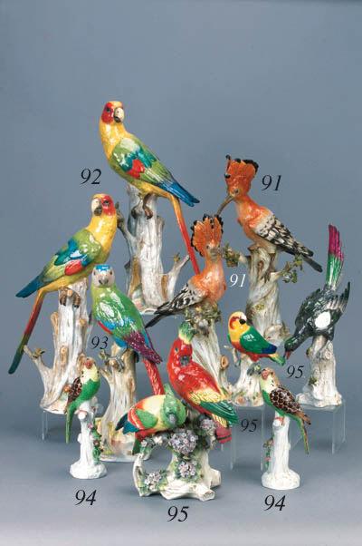 A Meissen model of a parrot