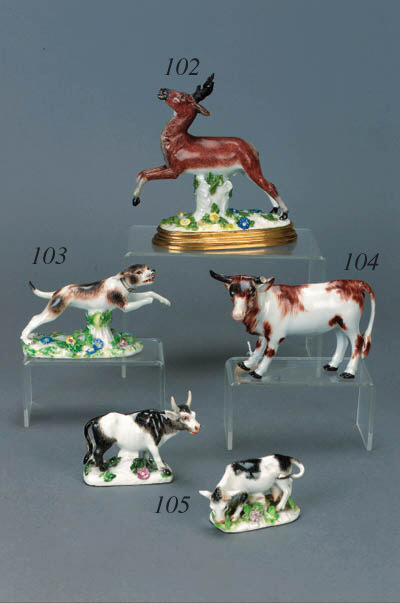 Two Meissen models of a bull a