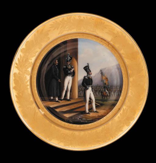 A porcelain military Plate