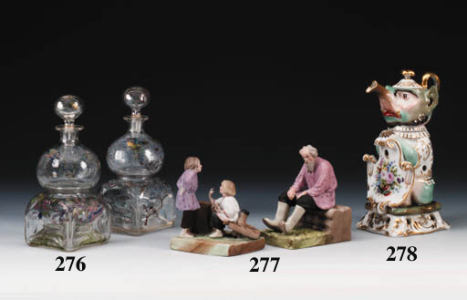 Two porcelain Groups of Two Ch