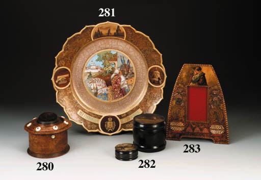 A birchwood Sewing-box
