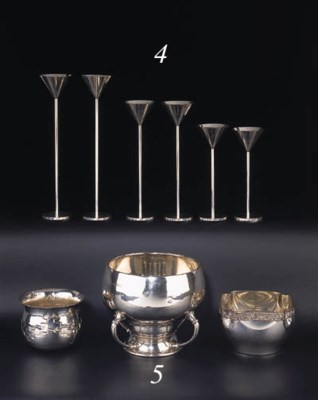 A set of six silver-plated can