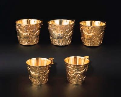 A set of five Greek silver-gil