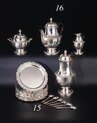 A French four-piece silver tea