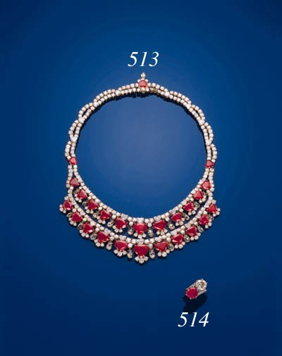 A RUBY AND DIAMOND TWO-STONE R