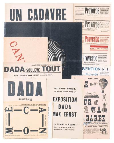 DADA -- Proverbe. Feuille Mensuelle. Collection de 5 numros. Paris: Paul Eluard, 1920-1921. In-8 (213 x 135mm). Broch. Contributions de Pret, Eluard, Aragon, Picabia, Tzara, et d'autres crivains.