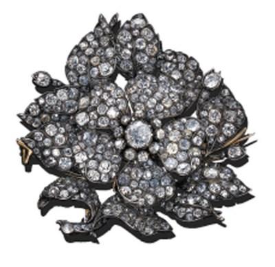 A DIAMOND WILD ROSE BROOCH
