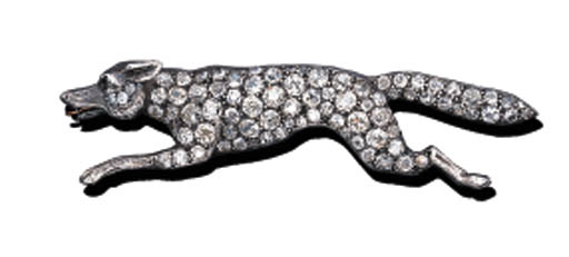 A DIAMOND RUNNING FOX BROOCH