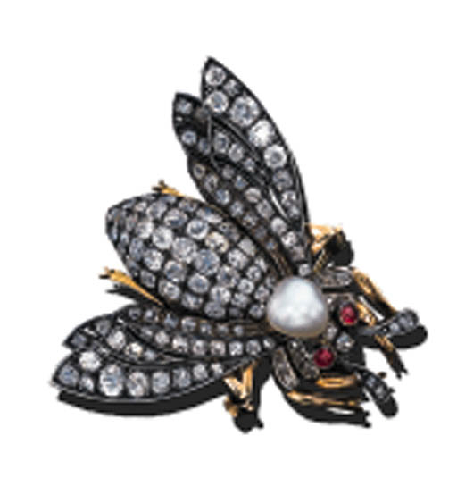 A DIAMOND AND PEARL BEE BROOCH