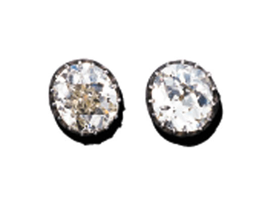A PAIR OF OLD MINE-CUT DIAMOND