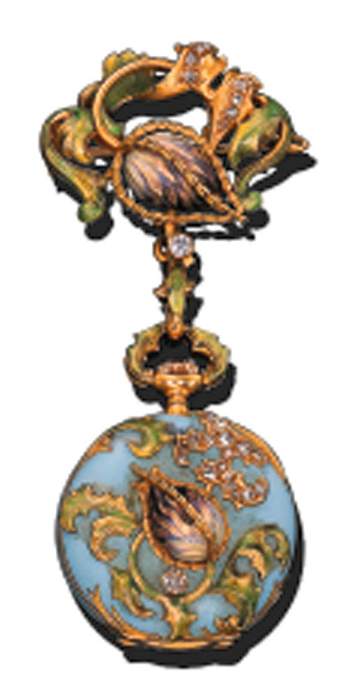 AN ENAMEL PENDENT WATCH, BY MA