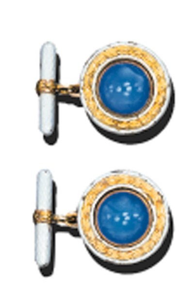 A PAIR OF CHALCEDONY AND ENAME