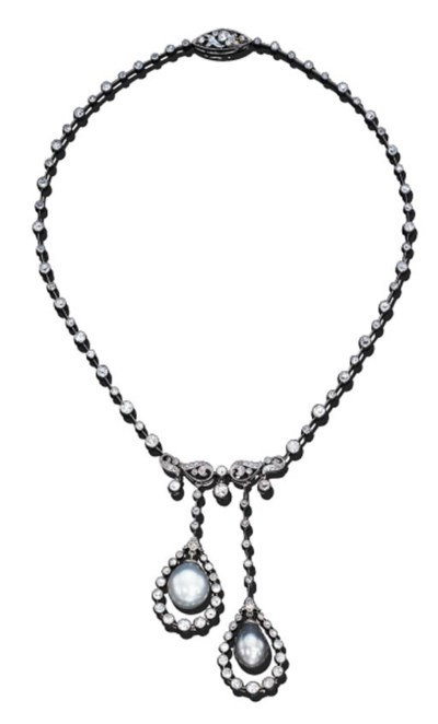 A PEARL AND DIAMOND LAVALLIERE