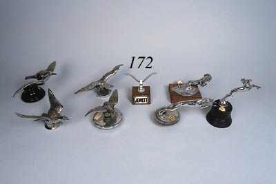 Four avian mascots including M