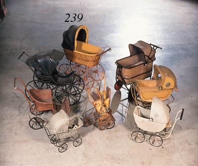 A wickerwork baby carriage hav