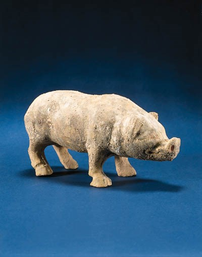 A SICHUAN PAINTED POTTERY BOAR