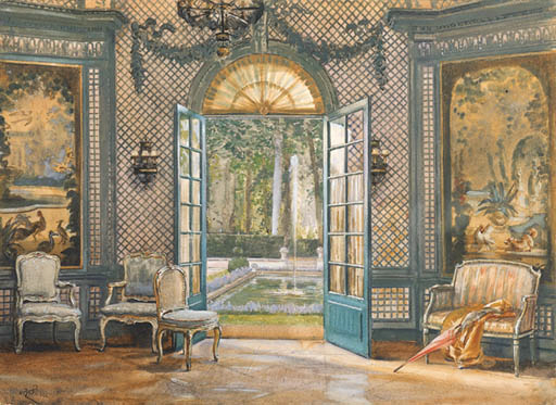 39 le salon de musique de la 39 villa trianon 39 a watercolor for Le salon de musique