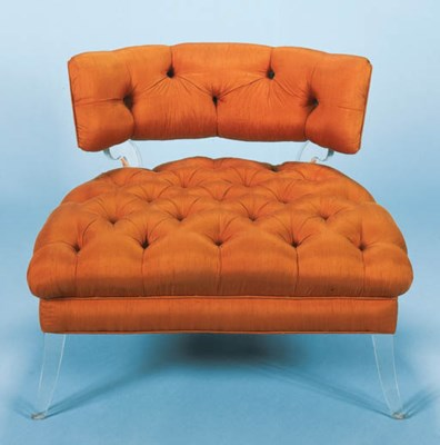 A SILK UPHOLSTERED AND ACRYLIC
