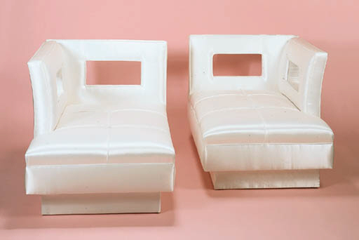 A PAIR OF WHITE-SILK UPHOLSTER