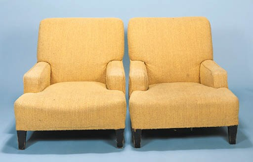 A PAIR OF UPHOLSTERED