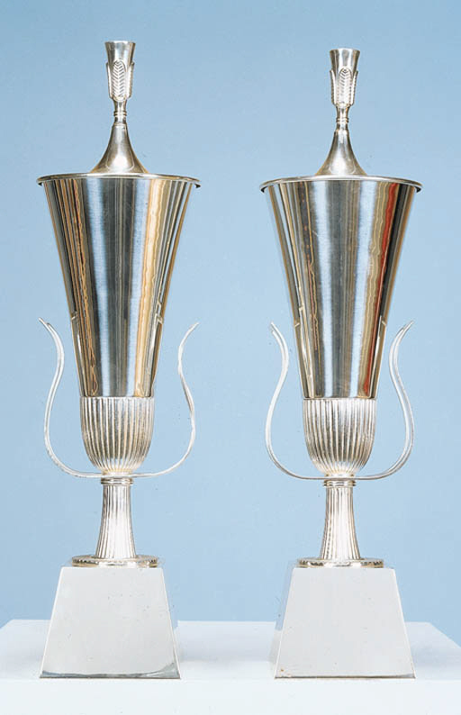 A PAIR OF SILVER-PLATED METAL