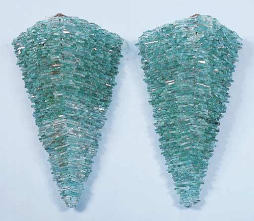 A PAIR OF GLASS AND METAL SCON