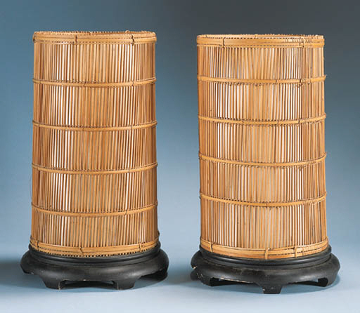 A PAIR OF BAMBOO JAPANESQUE TA