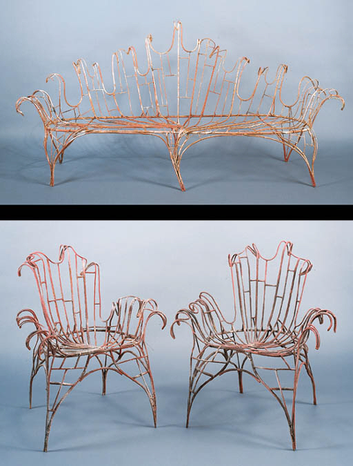 A PAINTED IRON SOFA AND TWO CH
