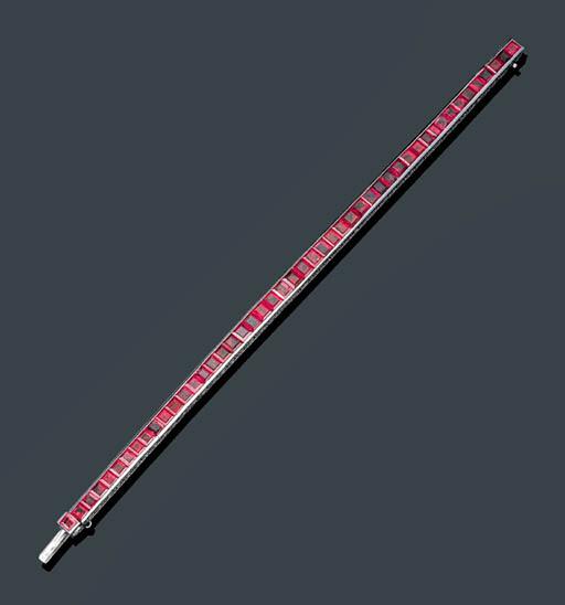 A BURMESE RUBY LINE BRACELET
