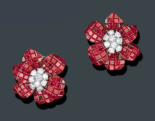 A PAIR OF CALIBR-CUT RUBY AND