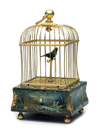 A GILT-METAL SINGING BIRD BOX