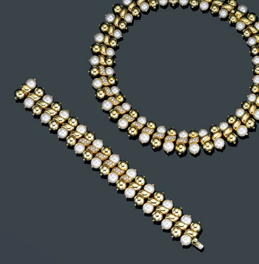 A SUITE OF 18K GOLD, DIAMOND AND CULTURED PEARL JEWELRY, BOUCHERON