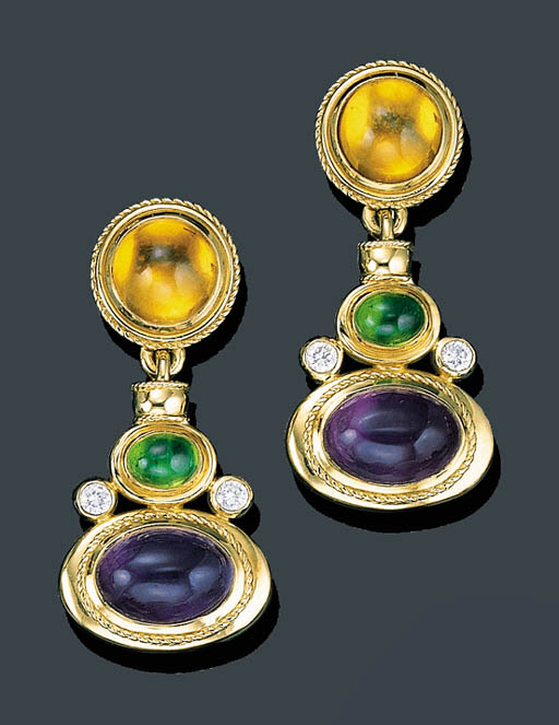 A PAIR OF GOLD AND GEM SET EAR