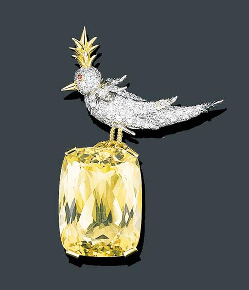 A DIAMOND AND CITRINE BIRD BRO