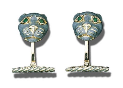 A PAIR OF 18K GOLD, ENAMEL AND