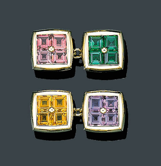 A PAIR OF 18K GOLD AND GEM SET