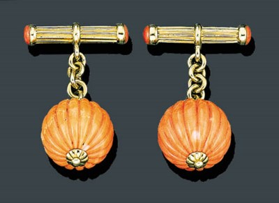 A PAIR OF PINK CORAL AND GOLD