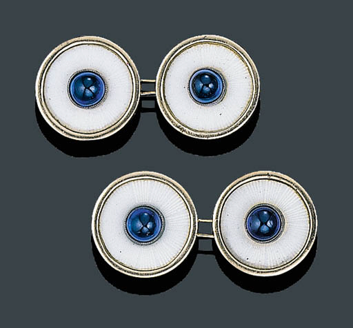 PAIR OF SAPPHIRE AND ENAMEL CU