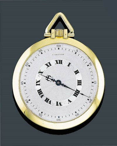 A GOLD POCKET WATCH, CARTIER