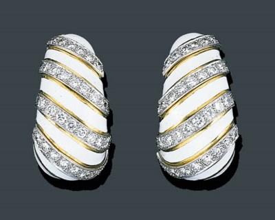A PAIR OF 18K GOLD, DIAMOND AN