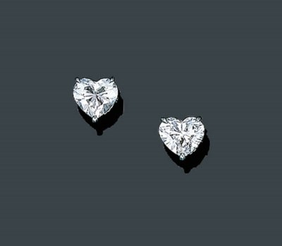 A PAIR OF HEART-SHAPED DIAMOND