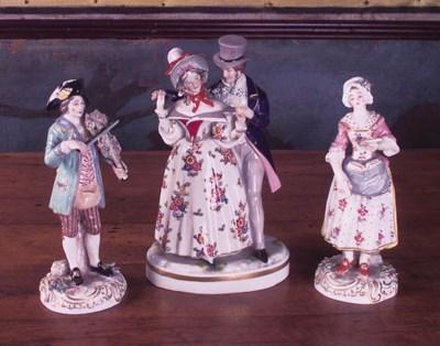 Tres grupos de porcelana
